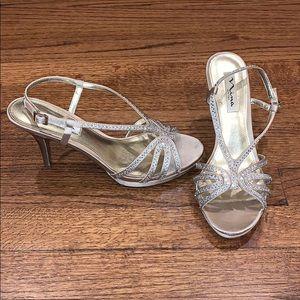 Nina evening shoes rhinestones platform champagne